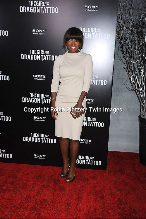 """Viola Davis attends the New York Premiere of """"The Girl With The Dragon Tattoo"""" on December 14, 2011 at The Ziegfeld Theatre in New York City. The movie stars Daniel Craig, ..Rooney Mara, Christopher Plummer, Stellan Skarsgard, Robin Wright and Joely Richardson."""