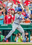 29 June 2017: Chicago Cubs infielder Tommy La Stella pinch hits in the 9th inning against the Washington Nationals at Nationals Park in Washington, DC. The Cubs rallied to defeat the Nationals 5-4 and split their 4-game series. Mandatory Credit: Ed Wolfstein Photo *** RAW (NEF) Image File Available ***