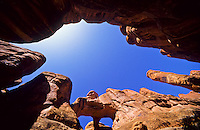 Virtical shot of The Double O arch canyon from the Fiery Furnace Trail, Arches National Park, Utah, USA