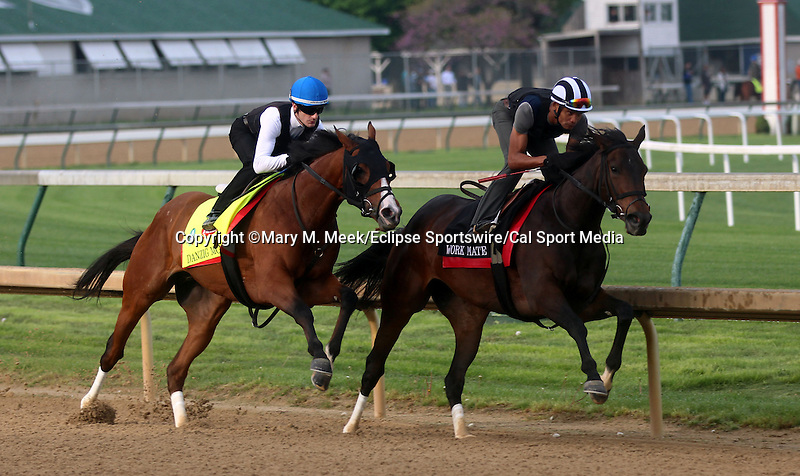 April 18, 2015 Kentucky Derby and Oaks contenders at Churchill Downs. Danzig Moon (outside, ridden by Julien Leparoux) works in company with Tepin, 5F in :58.  Owner John Oxley, trainer Mark Casse. By Malibu Moon x Leaveminthedust (Danzig) ©Mary M. Meek/ESW/CSM
