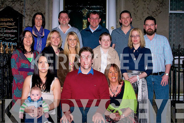 DINNER: Patrick O'Regan who was treated to dinner at Finnegans Restaurant Denny Street, Tralee on Saturday night by his family to mark his 21st Birthday. Front l-r: Sean and Oliva Gaffney, Patrick O'Regan (Ballyduff) and Marcella O'Regan. Back were: Siobhan Meehan, Terry O'Brien, Cathy O'Sullivan, Ciaran O'Regan, Aisling Hanrahan, Nora Falvey, John O'Regan, Garry Meehan, Seamus Falvey and Tony Hanrahan.....................