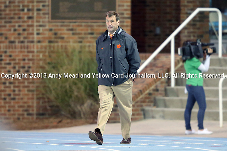08 October 2013: Clemson head coach Mike Noonan. The University of North Carolina Tar Heels hosted the Clemson University Tigers at Fetzer Field in Chapel Hill, NC in a 2013 NCAA Division I Men's Soccer match. Clemson won the game 2-1 in overtime.