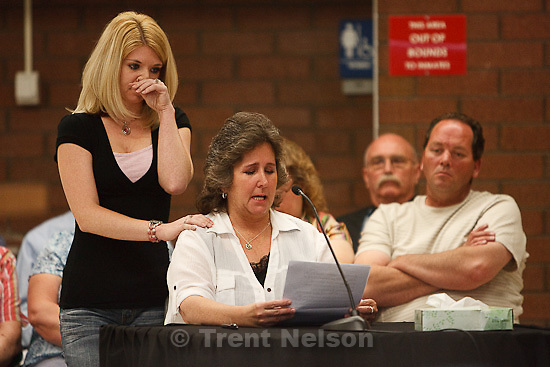Trent Nelson  |  The Salt Lake Tribune.Draper - Commutation hearing for death-row inmate Ronnie Lee Gardner Thursday, June 10, 2010, at the Utah State Prison. Mandi Hull  supports her aunt Tami Stewart as she testifies.
