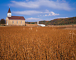 Sauk County, WI: Our Lady of Loretto church with autumn soybean and corn fields under the distant Baraboo Hills