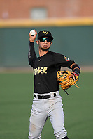 Shortstop Cesar Izturis Jr. (13) of the West Virginia Power warms up before a game against the Greenville Drive on Friday, May 17, 2019, at Fluor Field at the West End in Greenville, South Carolina. West Virginia won, 10-4. (Tom Priddy/Four Seam Images)