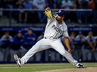 Joey Lucchesi pitcher inicial de San Diego, durante el partido de beisbol de los Dodgers de Los Angeles contra Padres de San Diego, durante el primer juego de la serie las Ligas Mayores del Beisbol en Monterrey, Mexico el 4 de Mayo 2018.<br /> (Photo: Luis Gutierrez)