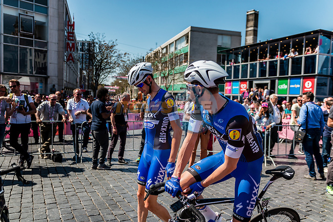 Riders of Etixx - Quick Step (BEL) signing in before the start at Nijmegen, stage 3 from Nijmegen to Arnhem running 190 km of the 99th Giro d'Italia (UCI WorldTour), The Netherlands, 8 May 2016. Photo by Pim Nijland / PelotonPhotos.com | All photos usage must carry mandatory copyright credit (Peloton Photos | Pim Nijland)