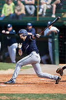 Micah Goodwin (31) of the Wingate Bulldogs follows through on his swing against the Catawba Indians at Newman Park on March 19, 2017 in Salisbury, North Carolina. The Indians defeated the Bulldogs 12-6. (Brian Westerholt/Four Seam Images)