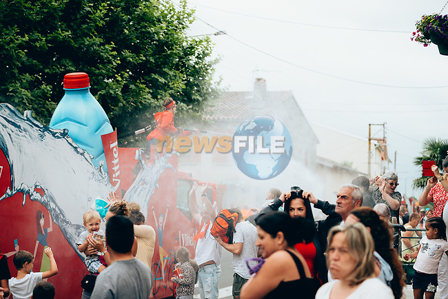 The publicity caravan cools the fans before the race arrives on Stage 12 of the 2019 Tour de France running 209.5km from Toulouse to Bagneres-de-Bigorre, France. 18th July 2019.<br /> Picture: ASO/Thomas Maheux | Cyclefile<br /> All photos usage must carry mandatory copyright credit (© Cyclefile | ASO/Thomas Maheux)