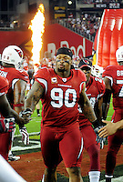 Dec 6, 2009; Glendale, AZ, USA; Arizona Cardinals defensive tackle Darnell Dockett prior to the game against the Minnesota Vikings at University of Phoenix Stadium. The Cardinals defeated the Vikings 30-17. Mandatory Credit: Mark J. Rebilas-
