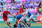 Pierre Popelin of France (R) passes the ball during the HSBC Hong Kong Sevens 2018 Bowl Final match between Canada and France on 08 April 2018, in Hong Kong, Hong Kong. Photo by Marcio Rodrigo Machado / Power Sport Images