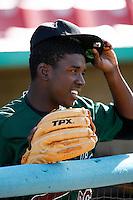 Leyson Septimo of the Visalia Oaks during a California League baseball game on April 9, 2007 at Stater Bros. Stadium in Adelanto, California. (Larry Goren/Four Seam Images)