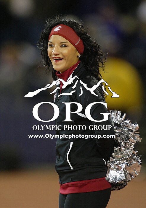 Nov 28, 2009:  Washington State cheerleaders entertained and pumped up WSU fans during the game against Washington.  Washington defeated Washington State 30-0 at Husky Stadium in Seattle, Washington..