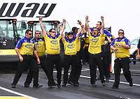 Jun. 2, 2013; Englishtown, NJ, USA: NHRA crew members celebrate for funny car driver Matt Hagan during the Summer Nationals at Raceway Park. Mandatory Credit: Mark J. Rebilas-