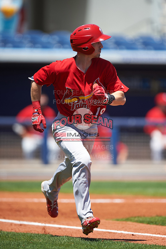 Palm Beach Cardinals left fielder Michael Pritchard (19) runs to first during a game against the Charlotte Stone Crabs on April 10, 2016 at Charlotte Sports Park in Port Charlotte, Florida.  Palm Beach defeated Charlotte 4-1.  (Mike Janes/Four Seam Images)