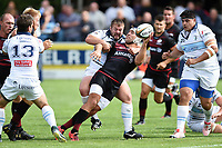 Schalk Brits of Saracens looks to offload the ball after being tackled by Ben Cooper of Bedford Blues. Pre-season friendly match, between Bedford Blues and Saracens on August 19, 2017 at Goldington Road in Bedford, England. Photo by: Patrick Khachfe / Onside Images