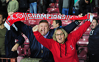 Lincoln City fans celebrate winning the penalty shoot out<br /> <br /> Photographer Andrew Vaughan/CameraSport<br /> <br /> The EFL Checkatrade Trophy Northern Group H - Scunthorpe United v Lincoln City - Tuesday 9th October 2018 - Glanford Park - Scunthorpe<br />  <br /> World Copyright &copy; 2018 CameraSport. All rights reserved. 43 Linden Ave. Countesthorpe. Leicester. England. LE8 5PG - Tel: +44 (0) 116 277 4147 - admin@camerasport.com - www.camerasport.com
