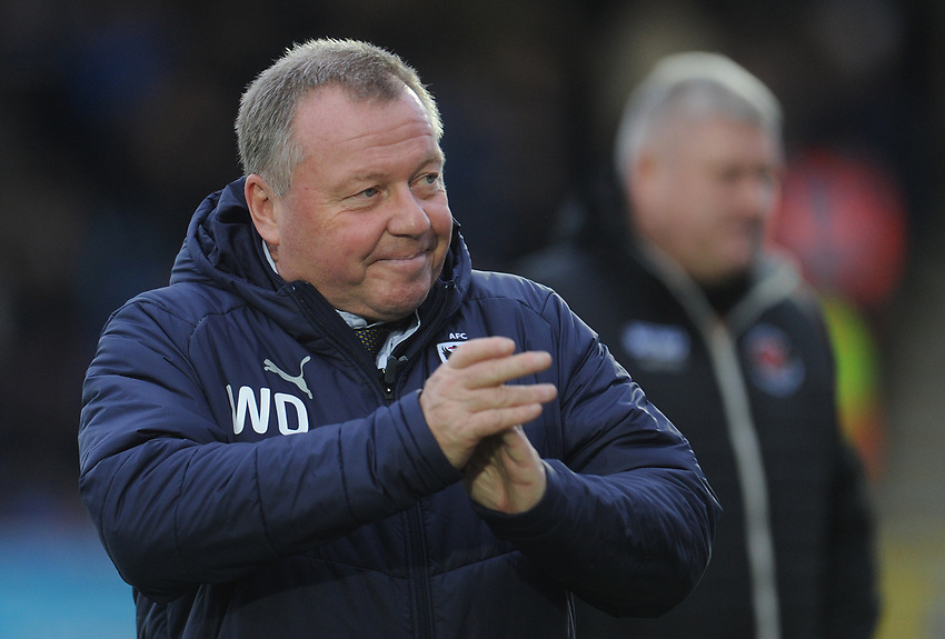 AFC Wimbledon manager Wally Downes<br /> <br /> Photographer Kevin Barnes/CameraSport<br /> <br /> The EFL Sky Bet League One - AFC Wimbledon v Blackpool - Saturday 29th December 2018 - Kingsmeadow Stadium - London<br /> <br /> World Copyright © 2018 CameraSport. All rights reserved. 43 Linden Ave. Countesthorpe. Leicester. England. LE8 5PG - Tel: +44 (0) 116 277 4147 - admin@camerasport.com - www.camerasport.com