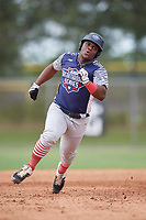 Marquis Jackson (0) during the WWBA World Championship at the Roger Dean Complex on October 11, 2019 in Jupiter, Florida.  Marquis Jackson attends Brother Rice High School in Chicago, IL and is committed to McLennan CC.  (Mike Janes/Four Seam Images)