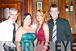 BALL: Noel Tarrant, Ballydesmond, Catriona O'Callaghan, Castleisland, Cheryl Carmody and Jerry O'Connell, Ballydesmond, having a ball at the Ballydesmond GAA social in the River Island Hotel, Castleisland, on Saturday night.   Copyright Kerry's Eye 2008