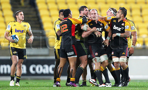 17.03.2013 Wellington, New Zealand. A scuffle during the 2013 Super Rugby season - Hurricanes v Chiefs, Westpac Stadium...