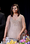 First Lady Michelle Obama smiles during the White House Correspondents' Association annual dinner on April 30, 2016 at the Washington Hilton hotel in Washington.This is President Obama's eighth and final White House Correspondents' Association dinner.<br /> Credit: Olivier Douliery / Pool via CNP