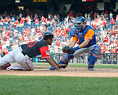 New York Mets catcher Travis d'Arnaud (18) prepares to tag  Washington Nationals pinch runner Edwin Jackson (40) out to end the game in the bottom of the ninth inning in the first game of a double-header pitting the New York Mets against the Washington Nationals at Nationals Park in Washington, D.C. on Sunday, August 27, 2017.  The Mets held on to win the game 6 - 5.<br /> Credit: Ron Sachs / CNP<br /> (RESTRICTION: NO New York or New Jersey Newspapers or newspapers within a 75 mile radius of New York City)