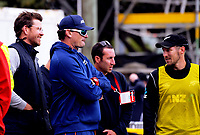 From left, Jacob Oram, Kyle Mills, Ryan Holland and George Worker during the One Day International cricket match between the NZ Black Caps and Pakistan at the Basin Reserve in Wellington, New Zealand on Saturday, 6 January 2018. Photo: Dave Lintott / lintottphoto.co.nz