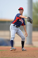 Cleveland Indians pitcher Kyle Crockett (46) during an Instructional League game against the Kansas City Royals on October 9, 2013 at Surprise Stadium Training Complex in Surprise, Arizona.  (Mike Janes/Four Seam Images)