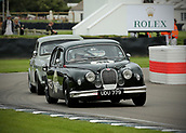 10th September 2017, Goodwood Estate, Chichester, England; Goodwood Revival Race Meeting; A mk1 Jaguar driven by Stuart Graham exits the Goodwood chicane