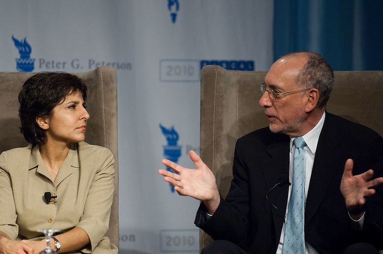 WASHINGTON, DC - April 28: Neera Tanden, of the Center for American Progress; and Bob Greenstein, of the Center on Budget and Policy Priorities; during a panel discussion at the 2010 Fiscal Summit sponsored by the Peter G. Peterson Foundation. (Photo by Scott J. Ferrell/Congressional Quarterly)