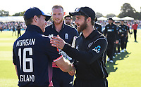 Kane Williamson shakes hands with Eoin Morgan at the end of the match.<br /> New Zealand Blackcaps v England. 5th ODI International one day cricket, Hagley Oval, Christchurch. New Zealand. Saturday 10 March 2018. &copy; Copyright Photo: Andrew Cornaga / www.Photosport.nz