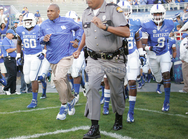 Head coach Joker Phillips during the University of Kentucky football vs.  South Carolina at Commonwealth Stadium in Lexington, Ky., on Saturday, September 29, 2012. Photo by Tessa Lighty | Staff