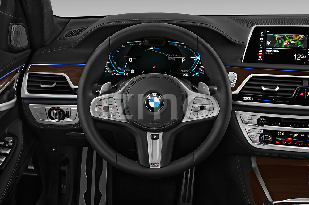 Car pictures of steering wheel view of a 2020 BMW 7-Series  M-Sport 4 Door Sedan
