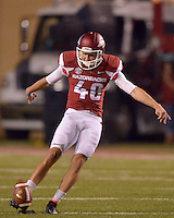 STAFF PHOTO BEN GOFF  @NWABenGoff -- 09/20/14 <br /> Arkansas kicker John Henson kicks off to Northern Illinois during the fourth quarter of the game in Reynolds Razorback Stadium in Fayetteville on Saturday September 20, 2014.