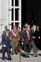 Prime Minister Mariano Rajoy, King Juan Carlos of Spain and Queen Sofia of Spain attend the traditional 'Pascua Militar' ceremony at The Royal Palace. January 06, 2013. (ALTERPHOTOS/Caro Marin)