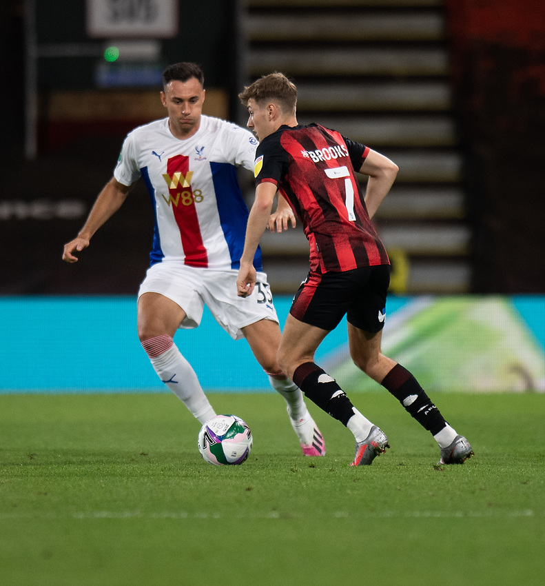 Bournemouth's David Brooks (right) under pressure from  Crystal Palace's Sam Woods (left) <br /> <br /> Photographer David Horton/CameraSport<br /> <br /> Carabao Cup Second Round Southern Section - Bournemouth v Crystal Palace - Tuesday 15th September 2020 - Vitality Stadium - Bournemouth<br />  <br /> World Copyright © 2020 CameraSport. All rights reserved. 43 Linden Ave. Countesthorpe. Leicester. England. LE8 5PG - Tel: +44 (0) 116 277 4147 - admin@camerasport.com - www.camerasport.com