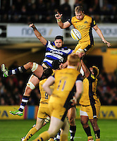 Mitch Eadie of Bristol Rugby wins the ball at a lineout. Aviva Premiership match, between Bath Rugby and Bristol Rugby on November 18, 2016 at the Recreation Ground in Bath, England. Photo by: Patrick Khachfe / Onside Images