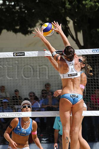 15.06.2012 Rome, Italy. 2012 Beach Volleyball World Championships Rome June 15th. Greta Cicolari and Marta Menegatti (ITA) vs  Laura Giombini and Viktoria Orsi Toth (ITA).