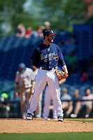 Mississippi Braves relief pitcher Connor Johnstone (45) during a Southern League game against the Jacksonville Jumbo Shrimp on May 5, 2019 at Trustmark Park in Pearl, Mississippi.  Mississippi defeated Jacksonville 1-0 in ten innings.  (Mike Janes/Four Seam Images)