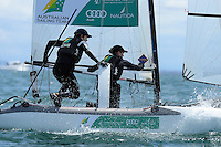 Euan McNicol &amp; Lucinda Whitty (AUS)<br /> Racing -Day 1 / Nacra 17<br /> ISAF Sailing World Cup - Melbourne<br /> Sandringham Yacht Club<br /> Monday 8 December 2014<br /> &copy; Sport the library / Jeff Crow