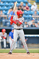 Hagerstown Suns shortstop Gilbert Lara (6) awaits a pitch during a game against the Asheville Tourists at McCormick Field on April 30, 2019 in Asheville, North Carolina. The Tourists defeated the Suns 5-4. (Tony Farlow/Four Seam Images)
