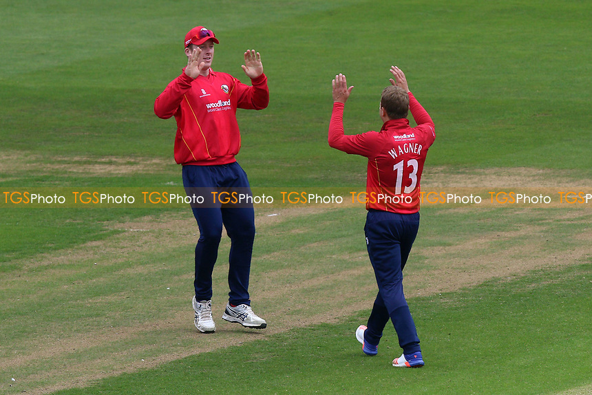 Neil Wagner of Essex celebrates taking the wicket of David Lloyd with catcher Simon Harmer during Glamorgan vs Essex Eagles, Royal London One-Day Cup Cricket at the SSE SWALEC Stadium on 7th May 2017