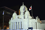 February 3, 2019, Sapporo, Japan - A large snow sculpture of Helsinki Cathedral is lit up at the 70th annual Sapporo Snow Festival in Sapporo in Japan's nortern island of Hokkaido on Sunday, February 3, 2019. The week-long snow festival will open on February 4 through February 11 and over 2.5 million people are expecting to visit the festival.   (Photo by Yoshio Tsunoda/AFLO) LWX -ytd-