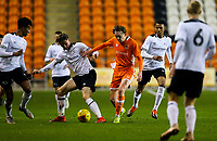 Blackpool's Nathan Shaw vies for possession with Derby County's Max Bird<br /> <br /> Photographer Alex Dodd/CameraSport<br /> <br /> The FA Youth Cup Third Round - Blackpool U18 v Derby County U18 - Tuesday 4th December 2018 - Bloomfield Road - Blackpool<br />  <br /> World Copyright &copy; 2018 CameraSport. All rights reserved. 43 Linden Ave. Countesthorpe. Leicester. England. LE8 5PG - Tel: +44 (0) 116 277 4147 - admin@camerasport.com - www.camerasport.com