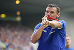 Lee McCulloch kisses his Captain's armband after scoring against Elgin City