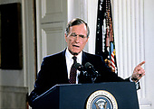 United States President George H.W. Bush holds a press conference in the East Room of the White House in Washington, D.C. on June 4, 1992.<br /> Credit: Ron Sachs / CNP