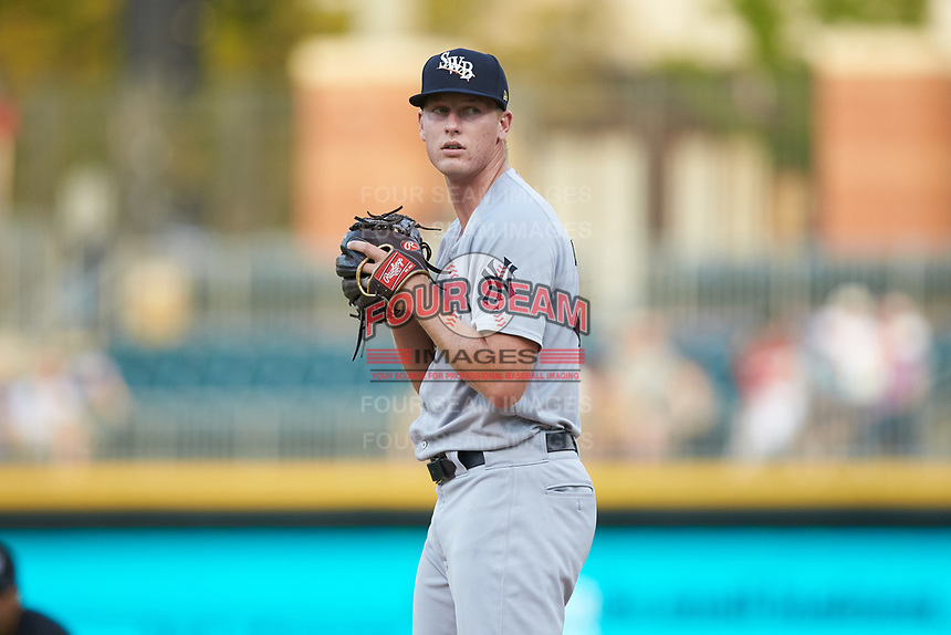 Scranton/Wilkes-Barre RailRiders starting pitcher Brian Keller (30) looks to his catcher for the sign against the Charlotte Knights at BB&T BallPark on August 13, 2019 in Charlotte, North Carolina. The Knights defeated the RailRiders 15-1. (Brian Westerholt/Four Seam Images)