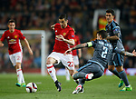 Henrikh Mkhitaryan of Manchester United tackles by Hugo Mallo of Celta Vigo during the Europa League Semi Final 2nd Leg match at Old Trafford Stadium, Manchester. Picture date: May 11th 2017. Pic credit should read: Simon Bellis/Sportimage