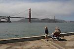 Crissy Field pier under the San Francisco Golden Gate Bridge.